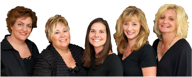 left to right: Pam Eshler, Kim Davidson, Holly Branin DMD, Jenni Reynolds, Lori McCoy